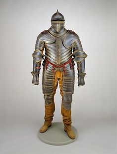 Field Armor of King Henry VIII  of England (reigned 1509–47), Date: ca. 1544 Geography: Milan or Brescia Culture: Italian, Milan or Brescia Medium: Steel, blackened, etched, and gilt; textile; leather