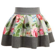 Dziecko Dziewczyny Szary Floral spódnica z neoprenu, Monnalisa, Dziewczyna