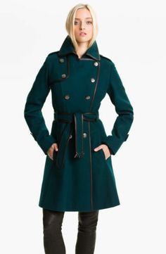 GUESS.  Medium teal military double breasted wool blend coat.  Super gorgeous.