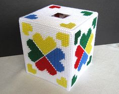 Plastic Canvas Boutique Tissue Box Cover - Yellow/Blue/Red/Green - Crayon Colors