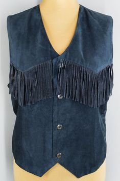 Vintage blue suede leather fringe vest from the 80s. Gorgeous genuine leather vest with fringe on the front and paisley print fabric on the back. Will suit both men and women, but please check measurements below for proper fit! Leather Vest, Leather Fringe, Suede Leather, Fringe Vest, Blue Suede, Paisley Print, Vintage Shops, Vests, Blazers