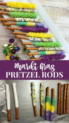 Mardi Gras Chocolate Covered Pretzel Rods Recipe Mardi Gras Chocolate Covered Pretzel Rods Recipe This quick and easy White Chocolate Covered Pretzel Rods recipe with purple, green, and gold sprinkles will add a festive touch to your Mardi Gras party. Mardi Gras Appetizers, Mardi Gras Desserts, Mardi Gras Food, Mardi Gras Decorations, Mardi Gras Drinks, Mardi Gras Centerpieces, White Chocolate Covered Pretzels, Chocolate Dipped, Chocolate Protein
