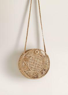 Handmade design Round design Raffia fabric Long strap One button fastening Fashion Handbags, Purses And Handbags, Fashion Bags, Wooden Purse, Jute, Clothing Staples, Sacs Design, Mango France, Summer Bags