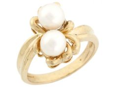 14k Solid Gold Two Freshwater Cultured Pearl Flower Ring Jewelry (Style#2965), Women's, Size: 10.5, White