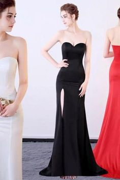 Off Shoulder Evening Dress Strapless Banquet Party Dress Sexy High Slit Prom Dress Long Formal Dress Lace Evening Dresses, Sexy Dresses, Strapless Dress Formal, Prom Dresses, Formal Dresses, Off Shoulder Evening Dress, Sexy Party Dress, Affordable Fashion, Chic Outfits