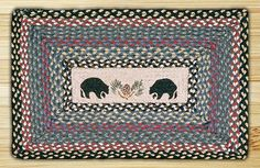 Rectangle Print Patch Black Bears Braided Earth Rug®