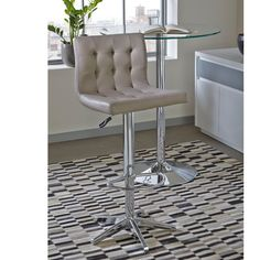 A height adjustable padded modern bar stool in faux leather with an on-trend stitch detail sits above a wide chrome base. Added comfort and support is given with the circular footrest and small backrest. Furniture, Stool, Retro Designs, Modern, Retro Vintage, Home Decor, Designer Bar Stools, Modern Bar, Retro Kitchen