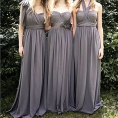 b1a76fc9c7f99 Junior Popular Convertible Chiffon Gray A Line Cheap Long Bridesmaid Dresses  for Wedding Party, WG111