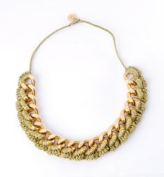 Thick crochet gold  chainlink necklace. $75.00, via Etsy.