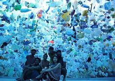 """To step under """"Plastic Ocean,"""" the art installation created by Tan Zi Xi, an artist from Singapore, is to find oneself in a situation unnervingly similar to being underwater – except the surface co…"""