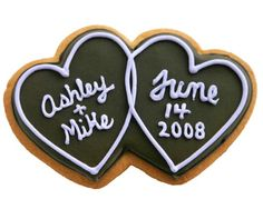 A double heart cookie from Eleni's, iced with the couple's names and wedding date, makes a cute favor.