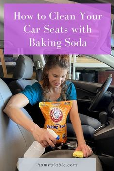 Clean your car seats and interior with this DIY carpet cleaning hack,: baking soda. This all natural product will remove any and all stains fast. #homeviable #bakingsoda #carcleaning