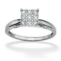 Platinum over Sterling Silver Round Diamond PavΘ Princess-Shaped Ring