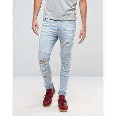 ASOS Super Skinny Jeans With Rips In Biker Style Bleach Wash ($28) ❤ liked on Polyvore featuring men's fashion, men's clothing, men's jeans, blue, mens light wash skinny jeans, mens blue ripped jeans, mens distressed jeans, mens ripped skinny jeans and mens destroyed skinny jeans