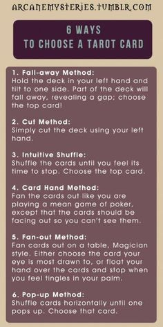 Tarot Tips. 6 ways to pick a tarot card. Tarot Tips. 6 ways to pick a tarot card. Chakra, Pick A Tarot Card, Tarot Significado, Tarot Cards For Beginners, Tarot Card Spreads, Tarot Astrology, The Knowing, Oracle Tarot, Tarot Card Meanings