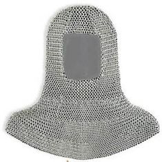Word chainmail is of recent coinage, having been in use since 1700s; prior it was referred to simply as mail.  The word refers to armour material, not the garment made from it. A shirt made from mail is a hauberk if knee-length, haubergeon if mid-thigh length, and byrnie if waist-length. Mail leggings are called chausses, mail hoods coif and mail mittens mitons. A mail collar hanging from a helmet is camail or aventail. A mail collar worn strapped around the neck was called a pixane or…