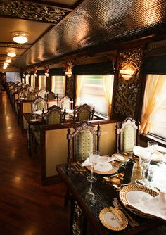 Maharajas' Express Train, India..  Yes, Yes, YES. Looks so classy! I'd feel like royalty :D