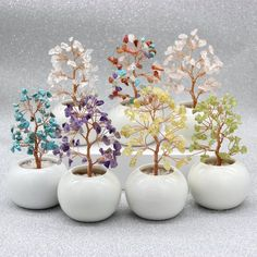 Sculptures Sur Fil, Wire Tree Sculpture, Tree Table, Crystal Tree, Rose Trees, Potted Trees, Diy Crystals, Handmade Wire, Wire Crafts