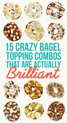 15 Trashy Bagel Topping Combos That Are Actually Brilliant. Some look disgusting. Some look amazing. Bagel Toppings, Bagel Bar, Breakfast Bagel, Bagel Sandwich, Breakfast Recipes, Breakfast Ideas, Healthy Bagel, Best Bagels, Low Carb Bagels