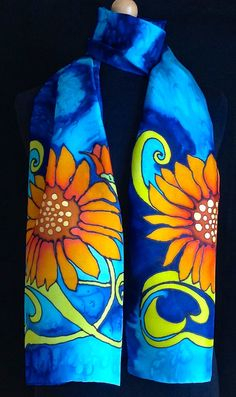 Brilliant Art Nouveau style sunflower silk by FantasticPheasant, $40.00