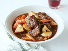 Beef Stew with Root Vegetables from FoodNetwork.com  subbed red wine for beer, added thrum and cooked for 4 hours a 300