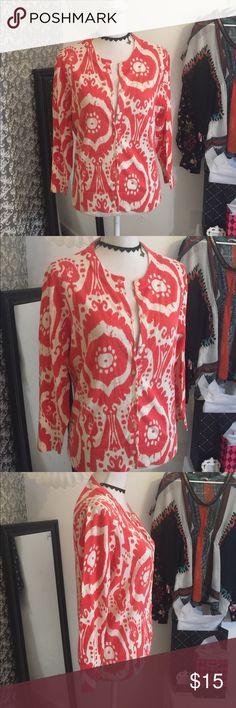 J.Crew tangerine/white print cardigan 100% cotton J. Crew Sweaters Cardigans
