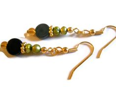 Olive Green Pearl Earrings Gold Earrings Rustic by chicagolandia, $20.00
