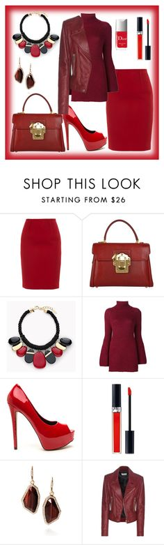 """""""Is there a thing as too much red"""" by tori-holbrook-th ❤ liked on Polyvore featuring Paule Ka, Dolce&Gabbana, Chico's, Rosetta Getty, Christian Dior, Chloe + Isabel and Balenciaga"""
