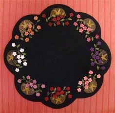 Wool Applique Pattern Geranium Baskets by FiddlestixDesign