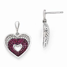 Brilliant Embers Sterling Silver White & Red CZ Heart Earrings