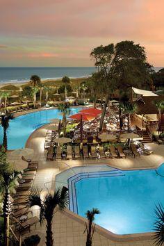 Omni Hilton Head Ocean Resort:  Hilton Head Island, South Carolina.  Dine alfresco or go for an evening walk along the beach. #Jetsetter