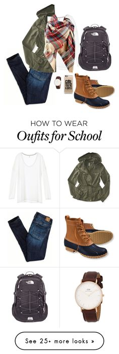 """""""Tomorrow's school outfit"""" by monogrambelle on Polyvore featuring moda, American Eagle Outfitters, Aéropostale, Casetify, L.L.Bean ve The North Face"""