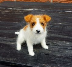 Needle Felted Jack Russell Terrier by Bazmia, via Flickr
