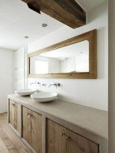 bathroom mortex with oak Contemporary Home Offices, Home, Bathroom Inspiration, Bathroom Renovation Diy, Bathrooms Remodel, Bathroom Renos, Concrete Bathroom, Bathroom Renovations, Bathroom Design