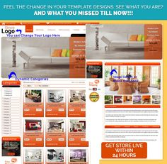 Best Easy #eBayStore Designer #Template in Readymade #Orange Theme for Luxurious #HomeInterior Products