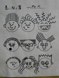 Draw Faces First grade artists spent the first art classes this year learning about different kinds of lines. We looked around the art room and found . First Grade Art, 2nd Grade Art, First Art, Line Art Projects, School Art Projects, Art Education Projects, Line Art Lesson, Art Lesson Plans, Drawing For Kids