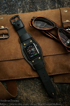 Handmade Leather Cuff Band C4 Black Edition by BlackForestAtelier
