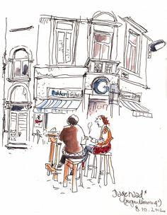 Detlef Surrey - Antwerpen Dageraad -> http://surrey-skizzenblog.blogspot.de/2012/10/antwerpen.html - Urban Sketches