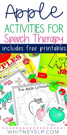 Apple Activities, Speech Therapy Activities, Language Activities, Autumn Activities, Speech Therapy Themes, Social Stories Autism, Special Needs Students, Apple Theme, Thematic Units