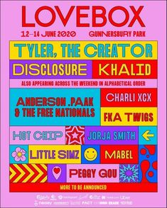 Finally, Lovebox has announced the first headliners last week, and it has confirmed that The Music Artist Khalid will headline the Friday night on June), of the festival before Disclosure play t Poster Sport, Poster Cars, Poster Retro, Event Poster Design, Event Design, Flyer Design, Design Typography, Lettering, Buskers Festival
