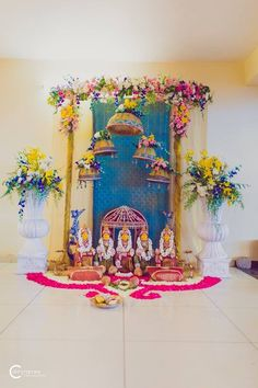 Diy Diwali Decorations, Indian Wedding Decorations, Festival Decorations, Flower Decorations, Flower Decoration For Ganpati, Ganpati Decoration Design, Gauri Decoration, Marriage Decoration, Ganesh Chaturthi Decoration