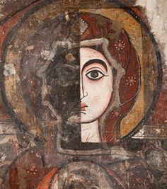 This above is part of mural from the White Monastery (Saint Shenoute Monastery) in Sohag area, Upper Egypt. It is half-preserved and dates from the From Egypt: Faith After The Pharaohs (The British Museum, London, Byzantine Art, Byzantine Icons, Christian Symbols, Christian Art, St Mary Of Egypt, Madonna, Archangel Raphael, Raphael Angel, Albrecht Durer