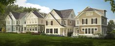 Photo-real rendering of a housing development, four styles of homes.