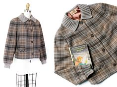 Vintage 1980s Pendleton Brand Women/'s Wool Plaid Camp Work Shirt Nylon Trim