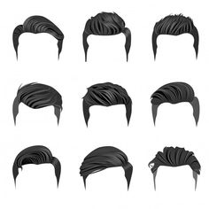 Drawing Male Hair, Guy Drawing, Drawing People, Hair Illustration, Fashion Illustration Sketches, Hair Vector, Vector Art, Vector File, Hair Reference