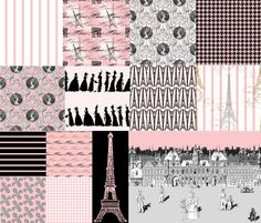 Promenade in Paris ~ Cheater Quilt fabric by peacoquettedesigns on Spoonflower - custom fabric