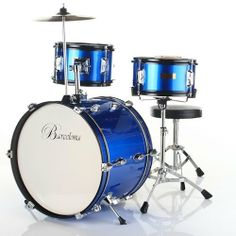Barcelona Three-Piece 16-Inch DRM316 Kid's Drum Set with Cymbal, Seat and Sticks - Blue by Barcelona. $99.95. Fun and cute at the same time, Barcelona's three-piece kid's drum set is the perfect size for children between the ages of three and five years old. The drum set comes packaged with everything your child needs to get rockin' right away -- a drum throne, bass drum pedal, crash cymbal, and pair of sticks. Manufactured with an emphasis on durability, it's made to withs...