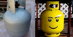 Paint your propane tank to look like a LEGO head.