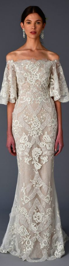Marchesa Bridal Spring 2017 Embroidered and beaded wedding dress with deep flared tulle hem. Marchesa Bridal, Marchesa Spring, Bridal Dresses, Wedding Gowns, Wedding Lace, Spring Wedding, Trendy Wedding, Filipiniana Dress, Filipiniana Wedding
