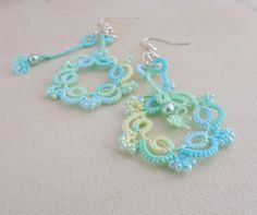 Delicate and elegant lace earrings in pretty sea island citrus colours, hand-crafted in Waterford, Ireland. These beautiful earrings are made in two Lace Earrings, Lace Jewelry, Crochet Earrings, Unique Jewelry, Jewellery, Discount Makeup, Discount Shoes, Teal, Turquoise